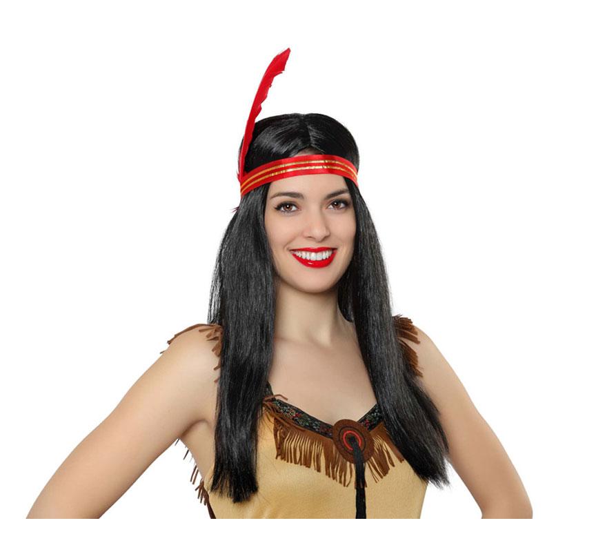 Peluca lisa morena de India con cinta y pluma.