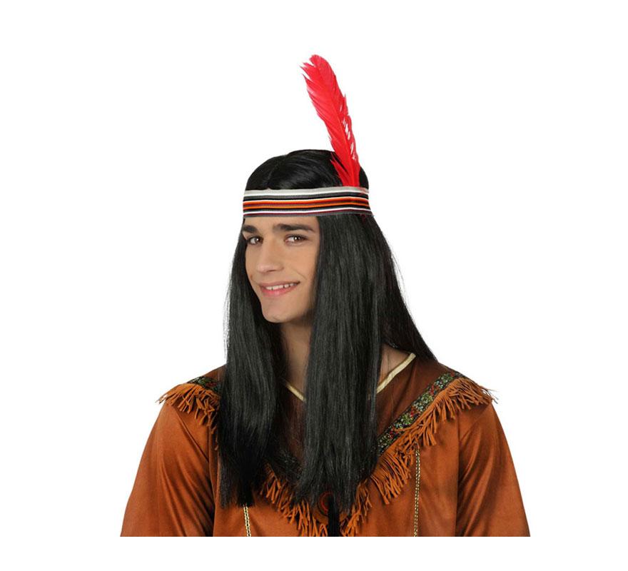Peluca de Indio con cinta y pluma.