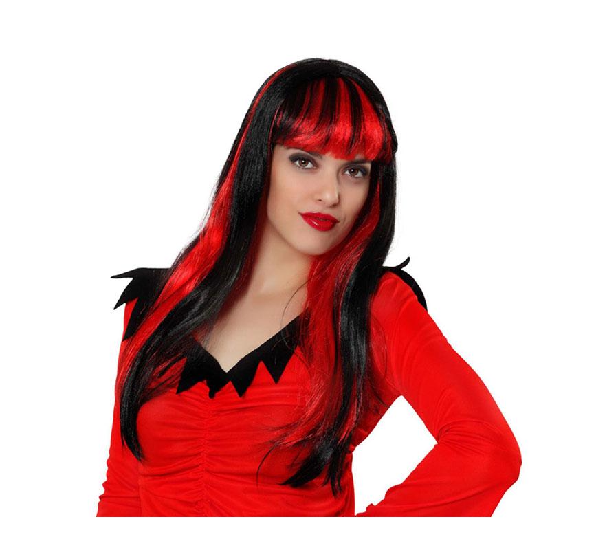 Peluca de Vampiresa con flequillo y mechas rojas