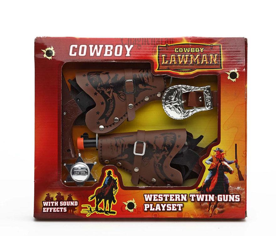 Set de 2 pistolas de Cowboy del Oeste. Incluye 2 pistolas, cartucheras, chapa de Sheriff y cinturón. Perfecto para los disfraces de Vaquero o Pistolero.