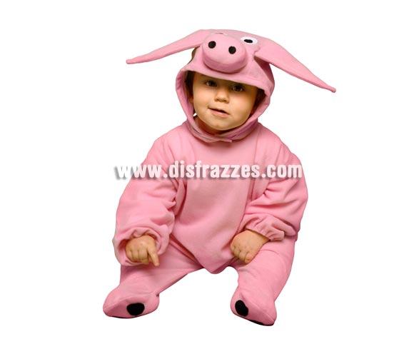 Disfraz barato de Cerdo o Cerdito para bebés de 6 a 12 meses. Incluye mono y gorro.