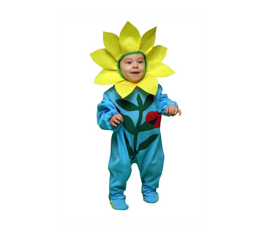 Disfraz super barato de Flor para bebés de 6 a 12 meses. Incluye mono y gorro.