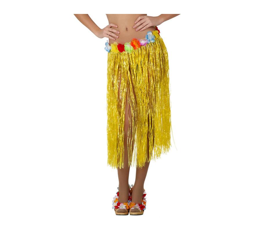 Falda Hawaiana amarilla con flores en la cintura de 77 cm. Ideal para una Fiesta Hawaiana de Verano.