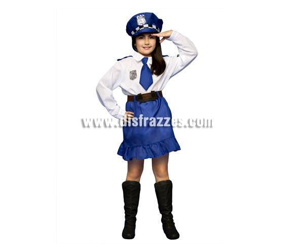 Disfraz de Policía para niñas de 3 a 4 años. Incluye camisa, falda, cinturón y gorra.