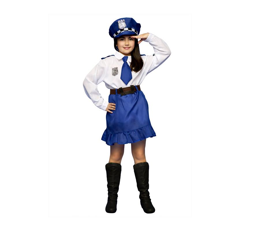 Disfraz de Policía para niñas de 5 a 6 años. Incluye camisa, falda, cinturón y gorra.
