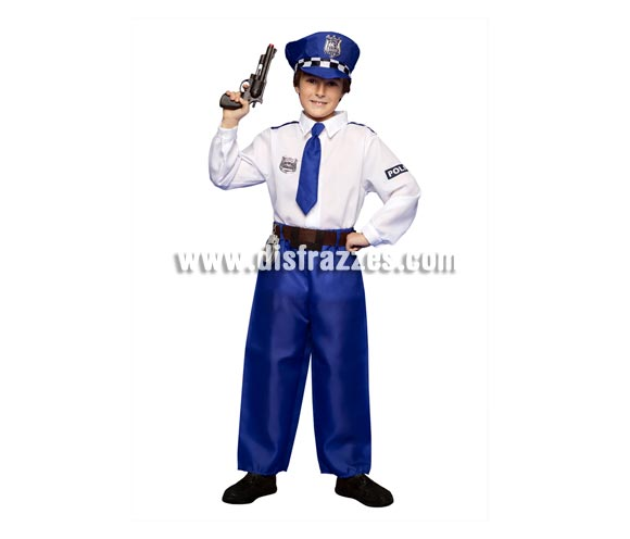 Disfraz de Policía para niños 3 a 4 años. Incluye camisa, pantalones, gorra y cinturón. Pistola NO incluida, podrás ver pistolas en la sección de Complementos - Armas.