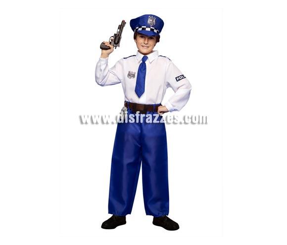 Disfraz de Policía para niños 5 a 6 años. Incluye camisa, pantalones, gorra y cinturón. Pistola NO incluida, podrás ver pistolas en la sección de Complementos - Armas.