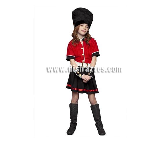 Disfraz de Guardia Inglesa para niñas de 7 a 9 años. Incluye chaqueta, falda, cinturón, sombrero y muñequeras.