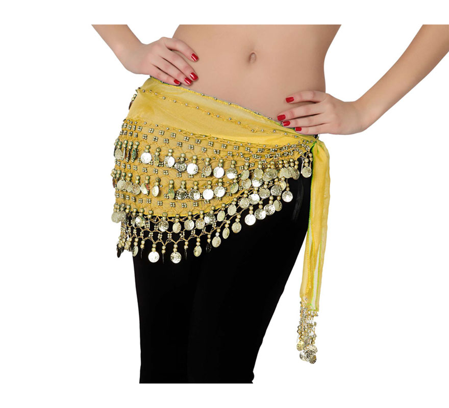 Pañuelo Danza árabe dorado con monedas