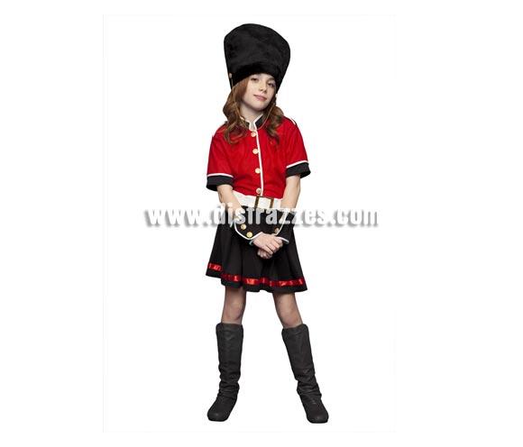 Disfraz de Guardia Inglesa para niñas de 10 a 12 años. Incluye chaqueta, falda, cinturón, sombrero y muñequeras.