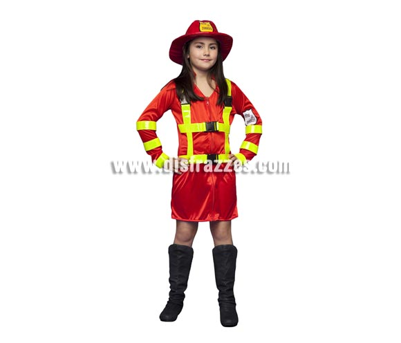 Disfraz de Bombera para niñas de 7 a 9 años. Incluye vestido y sombrero.