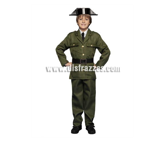Disfraz de Guardia Civil para niños de 3 a 4 años. Incluye chaqueta, pantalones, sombrero y cinturón.