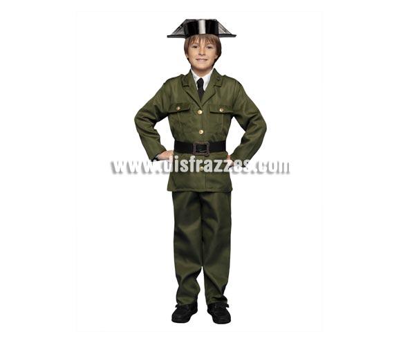 Disfraz de Guardia Civil para niños de 7 a 9 años. Incluye chaqueta, pantalones, sombrero y cinturón.