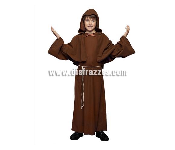 Disfraz de Fraile o Monje para niños de 7 a 9 años. Incluye túnica, capelina y cinturón.
