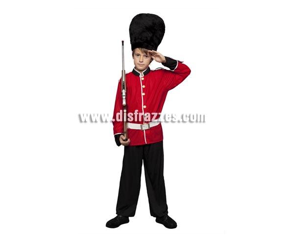 Disfraz de Guardia Inglesa para niños de 7 a 9 años. Incluye chaqueta, pantalones, sombrero y cinturón. Arma NO incluida.