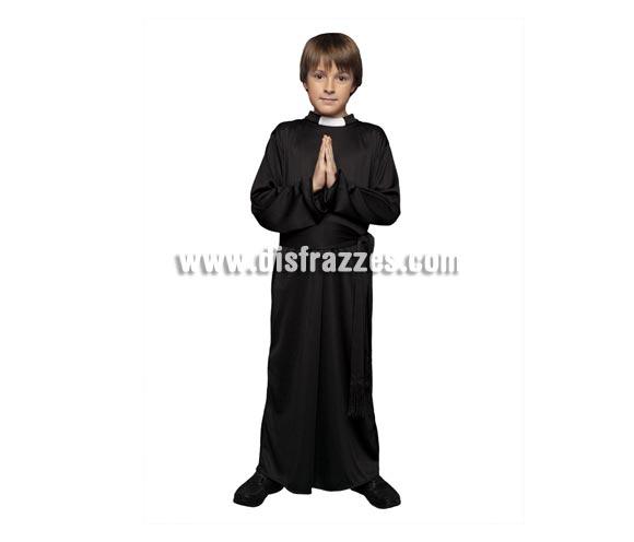 Disfraz barato de Cura para niños de 10 a 12 años. Incluye túnica y fajín.
