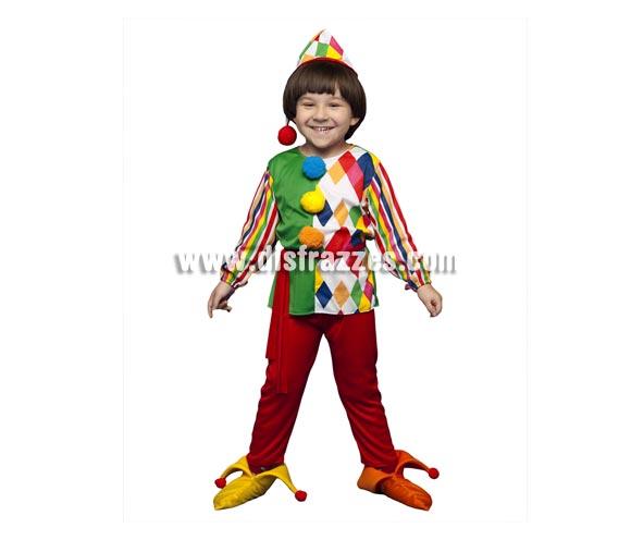 Disfraz de Payaso Arlequín para niños de 3 a 4 años. Incluye camisa, pantalones, sombrero, cinturón y cubrepies.