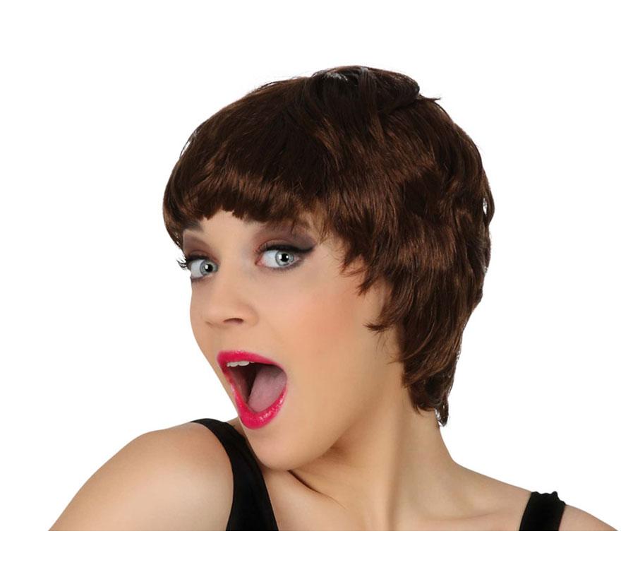 Peluca moderna pelo corto castaña con flequillo
