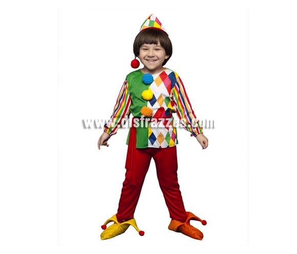Disfraz de Payaso Arlequín para niños de 5 a 6 años. Incluye camisa, pantalones, sombrero, cinturón y cubrepies.