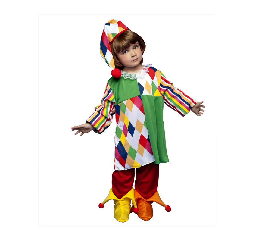Disfraz de Payasa Arlequina para niñas de 3 a 4 años. Incluye camisa, pantalón, sombrero y cubrepies.