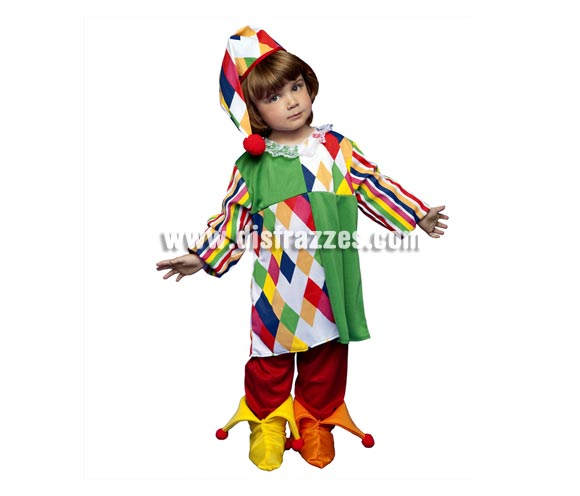 Disfraz de Payasa Arlequina para niñas de 5 a 6 años. Incluye camisa, pantalón, sombrero y cubrepies.