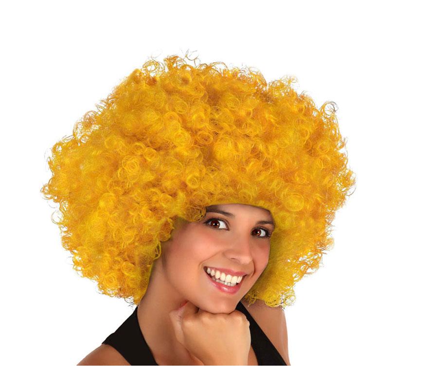 Peluca amarilla Gigante de Payaso rizada. También puede valer para los disfraces de Hippie.