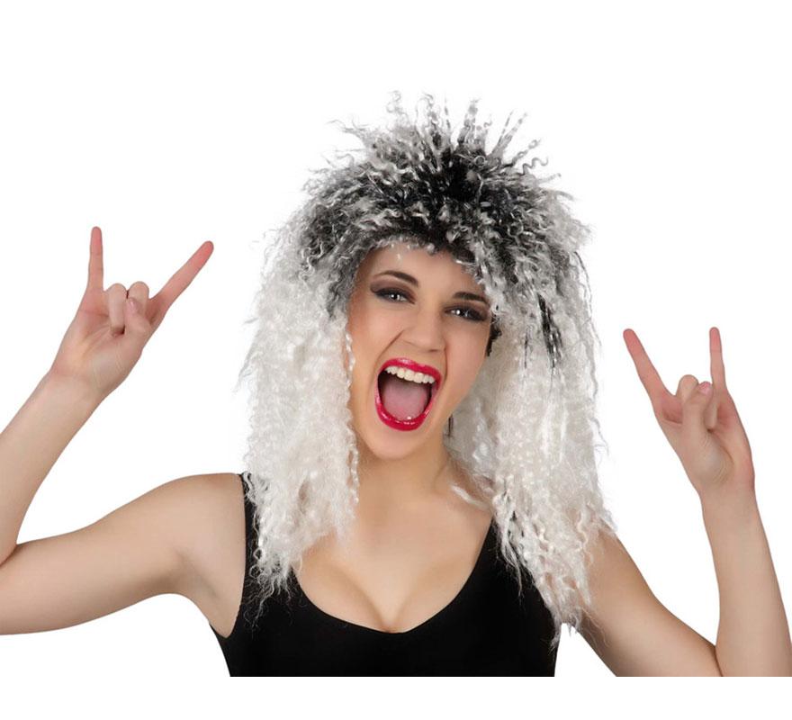 Peluca Rock o Punk blanca y negra rizada.