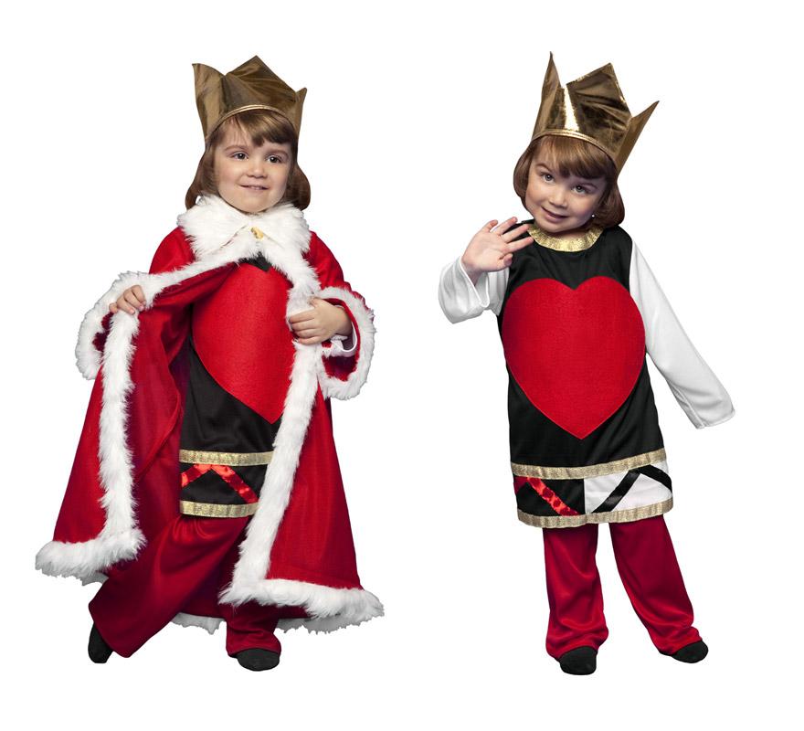 Disfraz de Rey o Reina de Corazones para niños de 3 a 4 años. Incluye camisa, pantalón, corona y capa. Éste disfraz puede ser para niños y niñas.