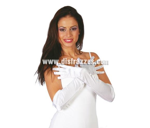 Par de guantes satinados blancos 51 cm.
