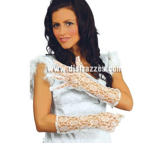 Par de guantes calados blancos 36 cm. Ideales para el disfraz de Novia Cadaver.