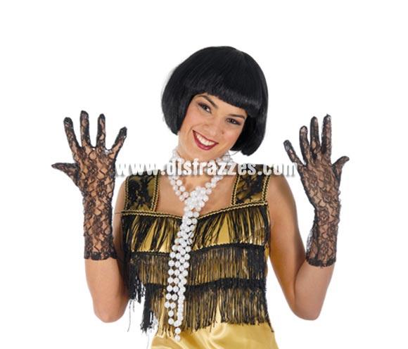 Par de guantes calados negros 36 cm. Ideales para disfraces de Charlestón, Viuda o Dama Arácnida, etc.