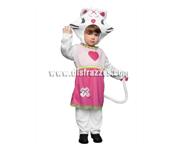 Disfraz de Sweety Catty para niñas de 3 a 4 años. Incluye camisa, pantalón y gorro. Disfraz de dulce Gatita para niñas que irán encantadas con éste traje y se imaginarán que son Hello Kitty.