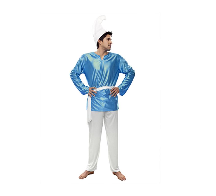 Disfraz de Duende Azul para hombre. Talla Standar M-L = 52/54. Incluye gorro, camisa, cinturón y pantalón. Ideal para jugar o imitar a los famosos Pitufos.