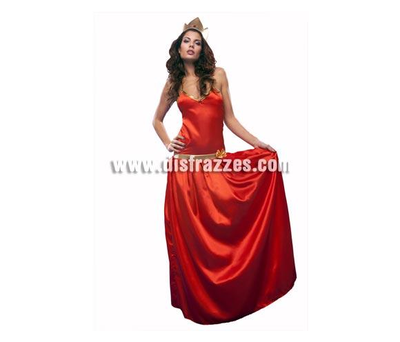 Disfraz de Princesa Roja para mujer. Talla standar M-L = 38/42. Incluye vestido y tocado. Disfraz de La Bella Princesa para chica.