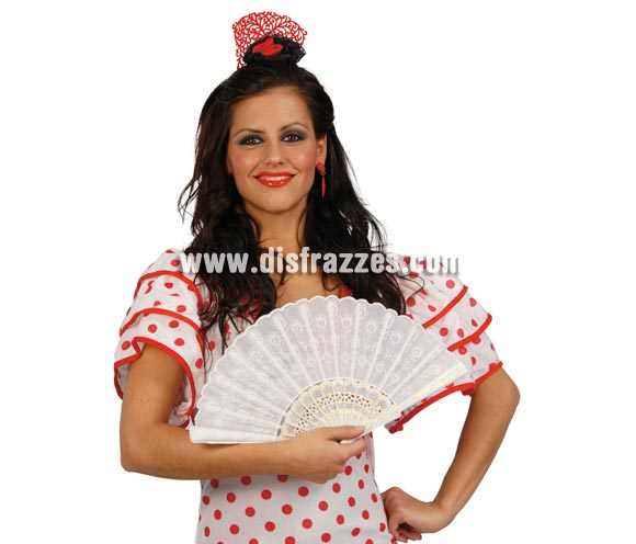 Abanico blanco 24 cm. perfecto para disfraces de Sevillanas, Flamencas y Cordobesas.