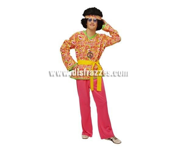 Disfraz de Hippie para hombre. Talla STD M-L = 52/54. Incluye camisa, pantalón, cinturón y cinta de la cabeza. Gafas y collar símbolo de la Paz NO incluidos, podrás verlos en la sección de Complementos.