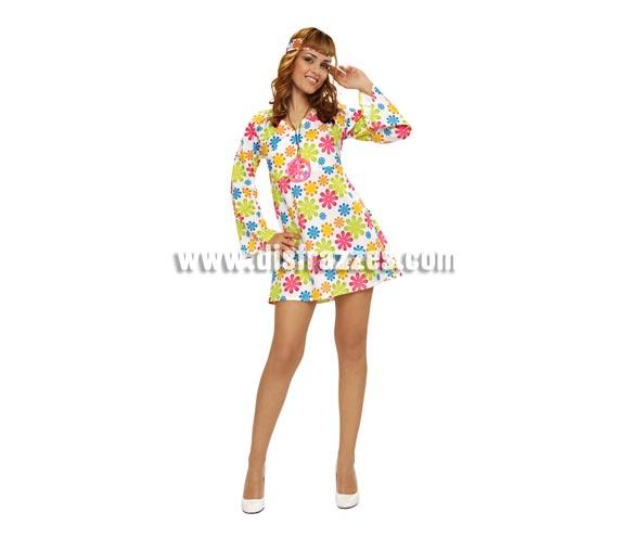 Disfraz o vestido super barato Hippie para mujer. Talla STD M-L = 38/42. Incluye vestido y cinta de la cabeza. Collar símbolo de la Paz NO incluido, podrás verlo en la sección de Complementos.