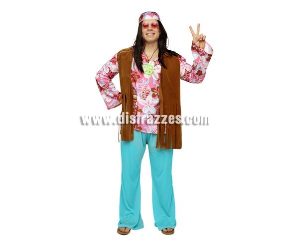 Disfraz de Hippie para chicos. Talla STD M-L = 52/54. Incluye camisa, chaleco, pantalón y cinta de la cabeza. Peluca, gafas y collar símbolo de la Paz NO incluidos, podrás verlos en la sección de Complementos.