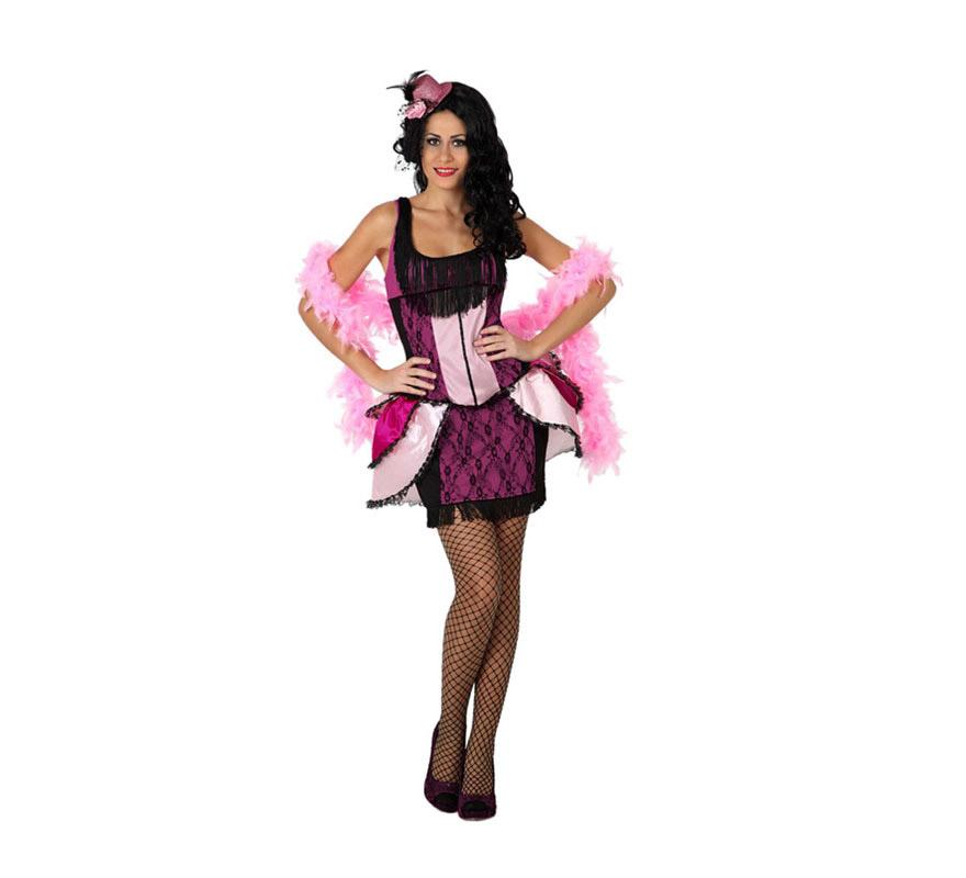 Disfraz de Cabaretera para chicas. Talla 1 ó talla S = 34/38 para chicas delgadas y adolescentes. Incluye vestido, resto de complementos NO incluidos, los podrás ver en la sección de Complementos.