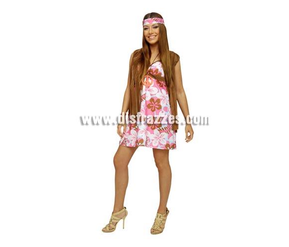 Disfraz vestido de Hippie para mujer. Talla standar M-L =38/42. Incluye vestido, chaleco y cinta de la cabeza. Collar símbolo de la Paz NO incluido, podrás verlo en la sección de Complementos.