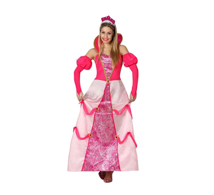Disfraz de Princesa rosa para mujer. Talla S = 34/38 para chicas delgadas y adolescentes. Incluye vestido y mangas.