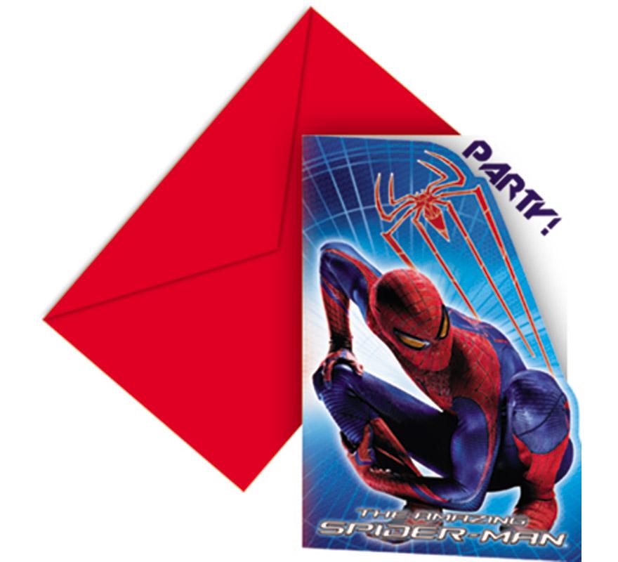 Bolsa de 6 invitaciones Spiderman.