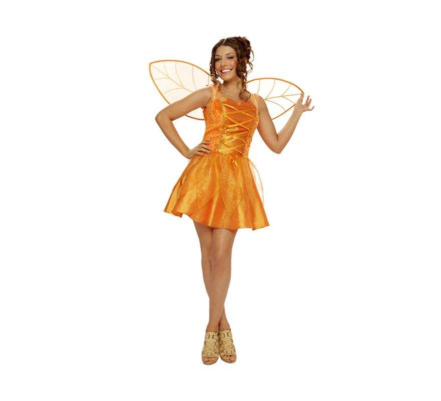 Disfraz barato de Hada del Bosque para mujer. Talla Standar M-L = 38/42. Incluye vestido y alas.