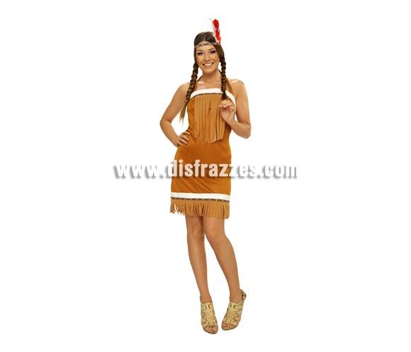 Disfraz barato de India para mujer. Talla Standar M-L = 38/42. Incluye vestido y tocado de la cabeza.