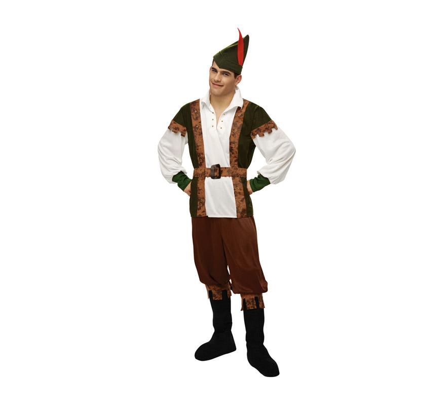 Disfraz de Robin Hood para hombre. Talla M-L = 52/54. Incluye camisa, pantalón, gorro, botas y cinturón. Este disfraz es la pareja de Lady Marian ref: 16920BT.