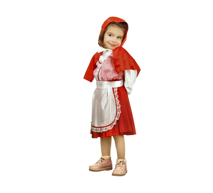 Disfraz super barato de Caperucita Roja para niñas de 1 a 2 años. Incluye vestido, delantal y caperuza.