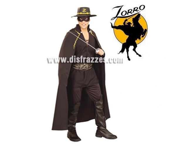 Disfraz de El Zorro adulto para Carnaval. Talla estándar. Incluye camisa, pantalones con cubrebotas, cinturón, capa y bandana con antifaz. Espada y Sombrero NO incluidos, podrás verlos en la sección Accesorios.