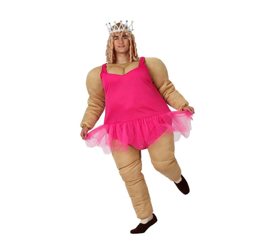 Disfraz de Bailarina Gorda para hombre. Talla M-L = 52/54. Incluye cuerpo acolchado y body con tutú. Corona y peluca NO incluidas, las podrás encontrar en la sección de Complementos. Ideal para Despedidas de Soltero.