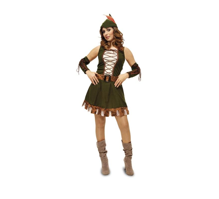 Disfraz de Marian para mujer. Talla Standar M-L = 38/42. Incluye vestido, manguitos, cinturón y gorro. Disfraz de la chica de Robin Hood.