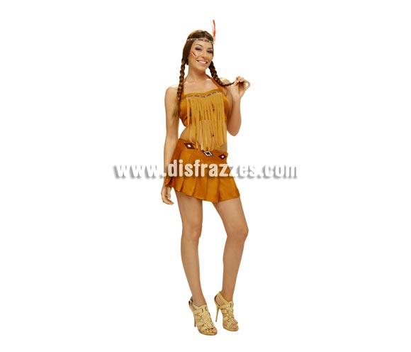 Disfraz barato de India sexy para mujer. Talla Standar M-L = 38/42. Incluye top, falda y tocado con  pluma.